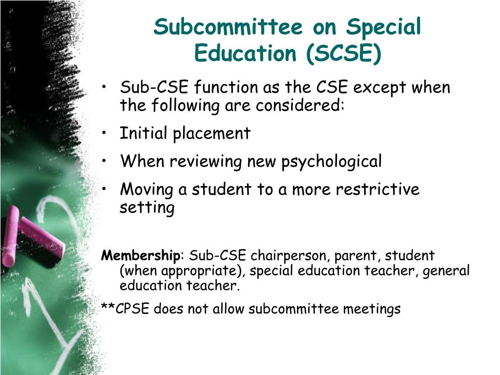 Subcommittee on Special Education (SCSE)
