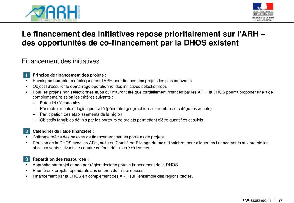 Le financement des initiatives repose prioritairement sur l'ARH – des opportunités de co-financement par la DHOS existent