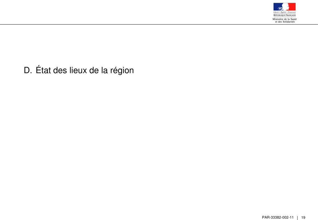 État des lieux de la région