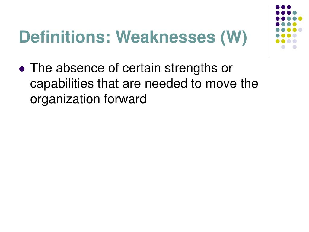 Definitions: Weaknesses (W)
