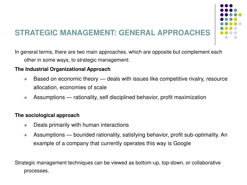 STRATEGIC MANAGEMENT: GENERAL APPROACHES