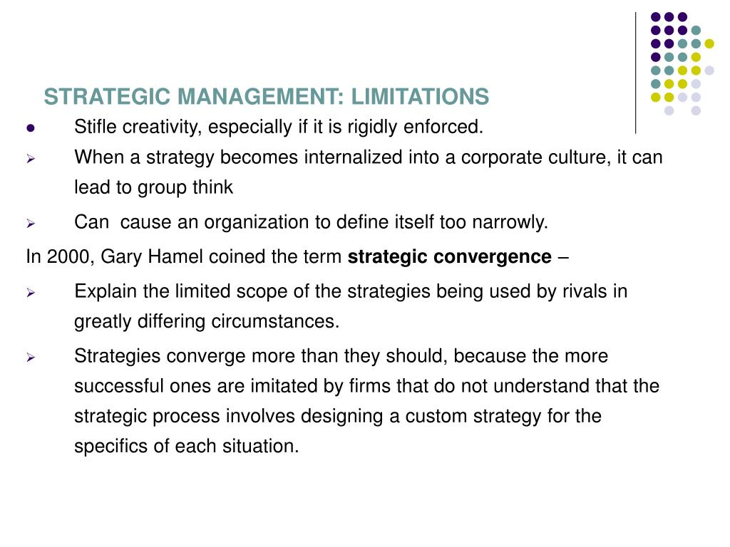 STRATEGIC MANAGEMENT: LIMITATIONS