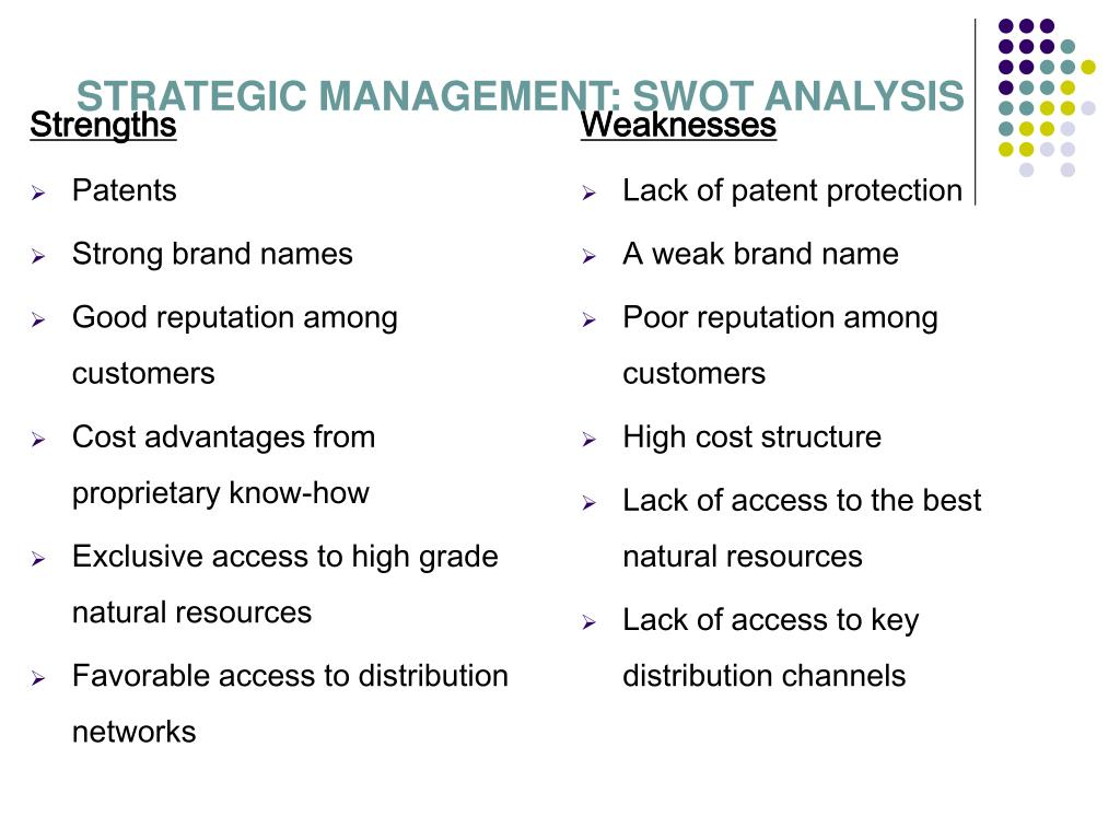 STRATEGIC MANAGEMENT: SWOT ANALYSIS