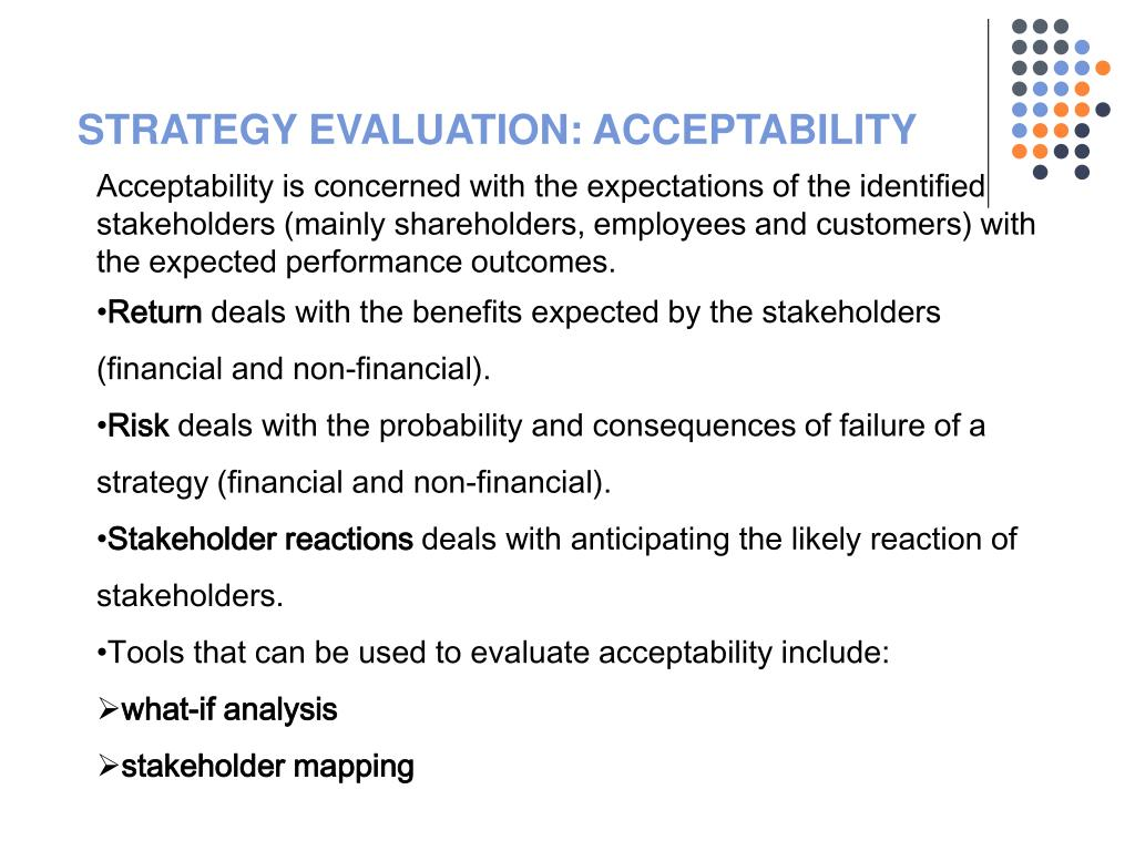 STRATEGY EVALUATION: ACCEPTABILITY