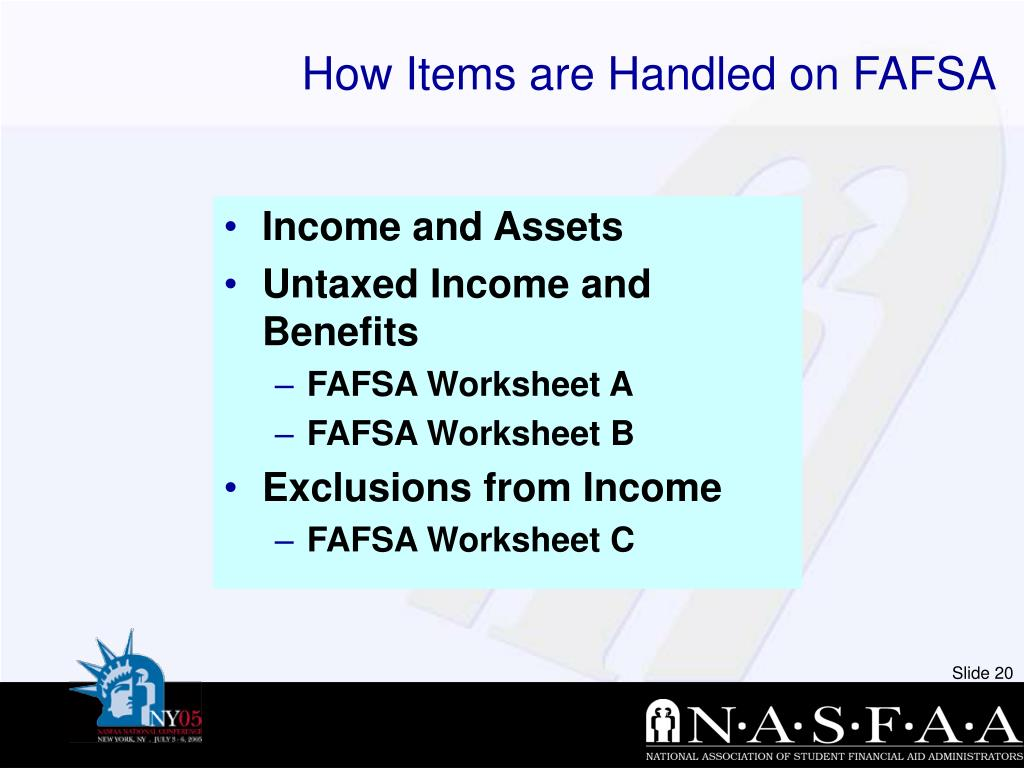 How Items are Handled on FAFSA