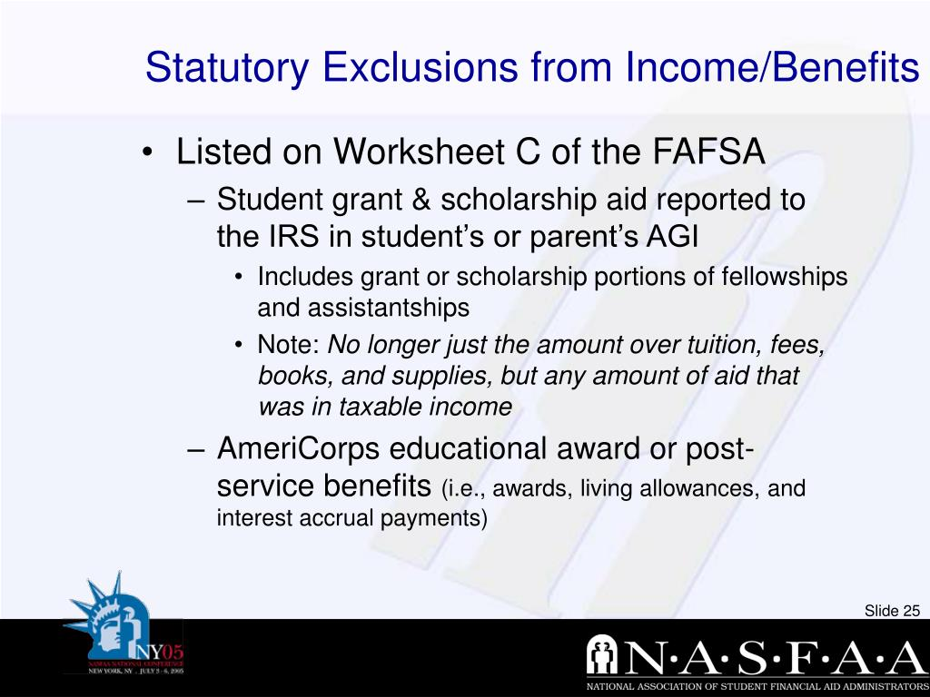 Statutory Exclusions from Income/Benefits
