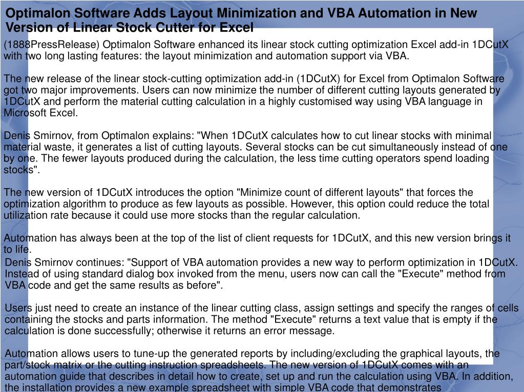 Optimalon Software Adds Layout Minimization and VBA Automation in New Version of Linear Stock Cutter for Excel