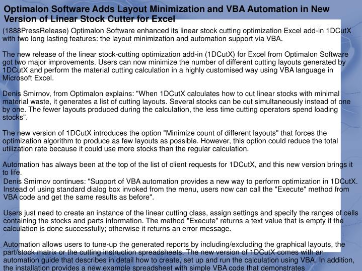 Optimalon Software Adds Layout Minimization and VBA Automation in New Version of Linear Stock Cutter...