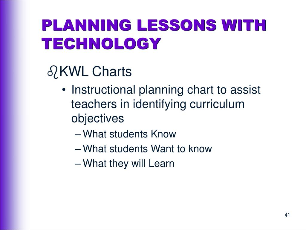 PLANNING LESSONS WITH TECHNOLOGY