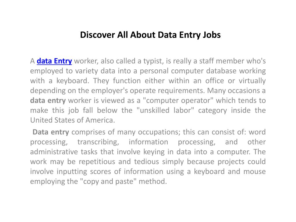 Discover All About Data Entry Jobs