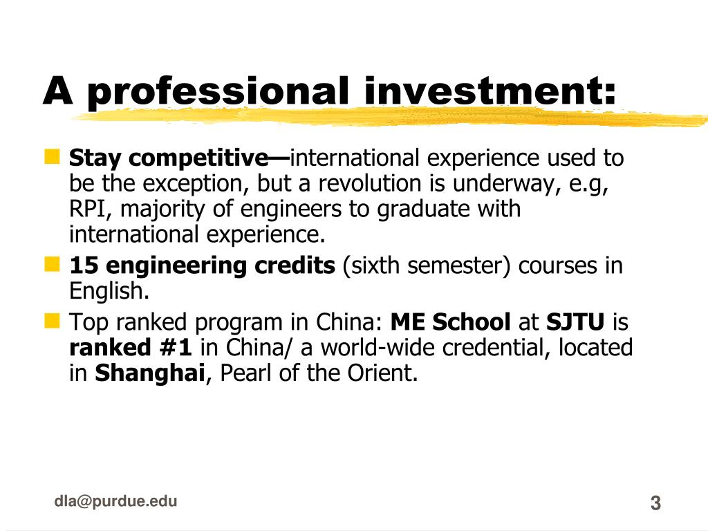 A professional investment: