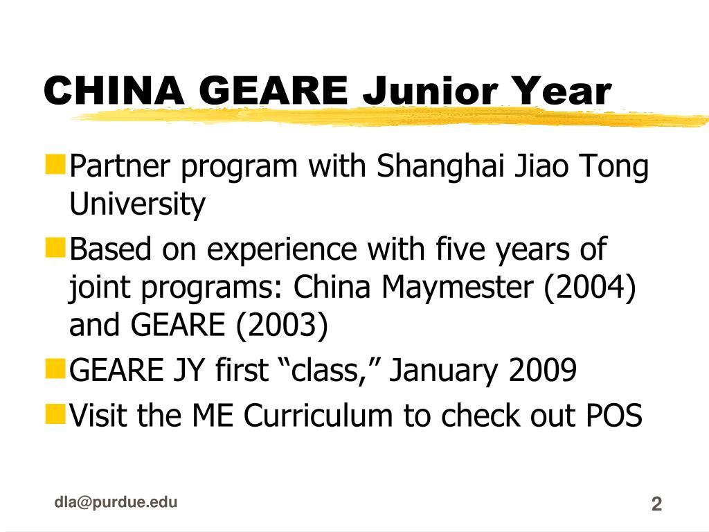 CHINA GEARE Junior Year
