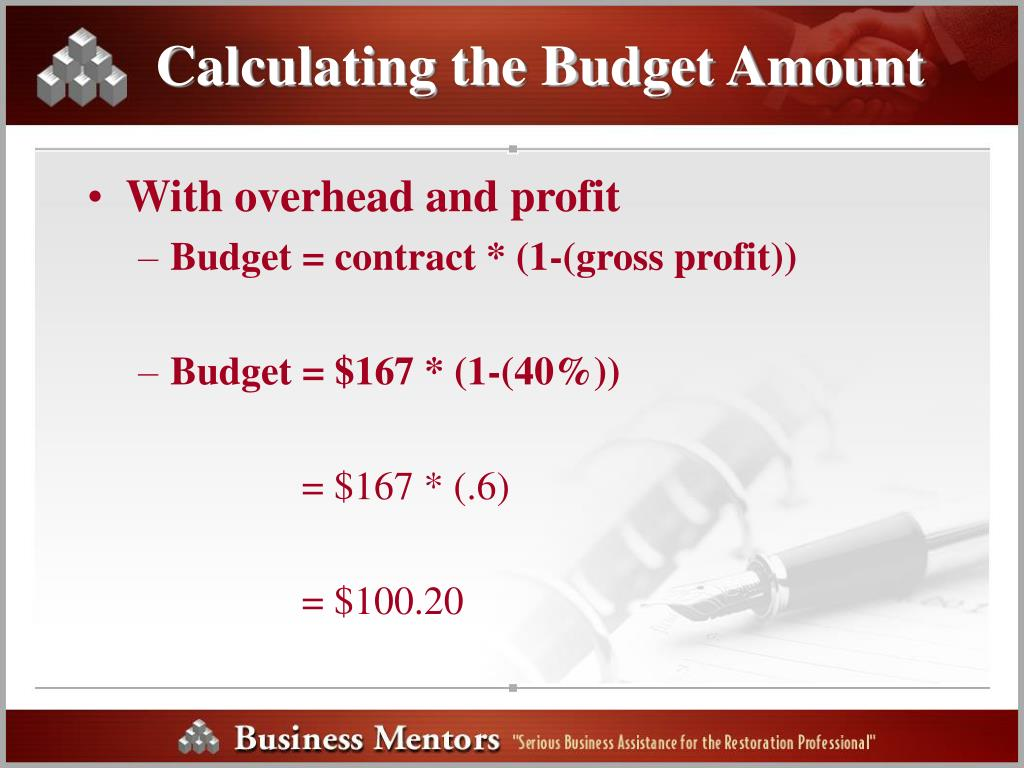 Calculating the Budget Amount