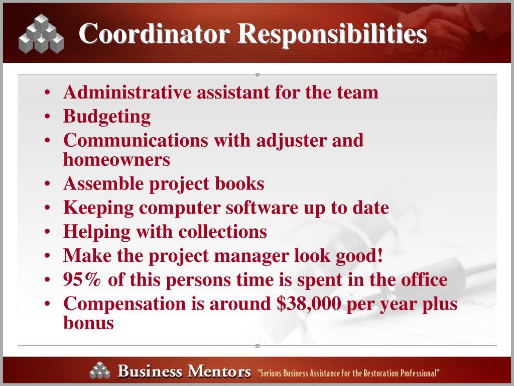 Coordinator Responsibilities