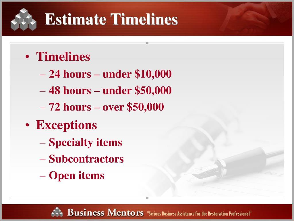 Estimate Timelines
