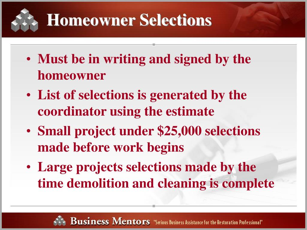 Homeowner Selections
