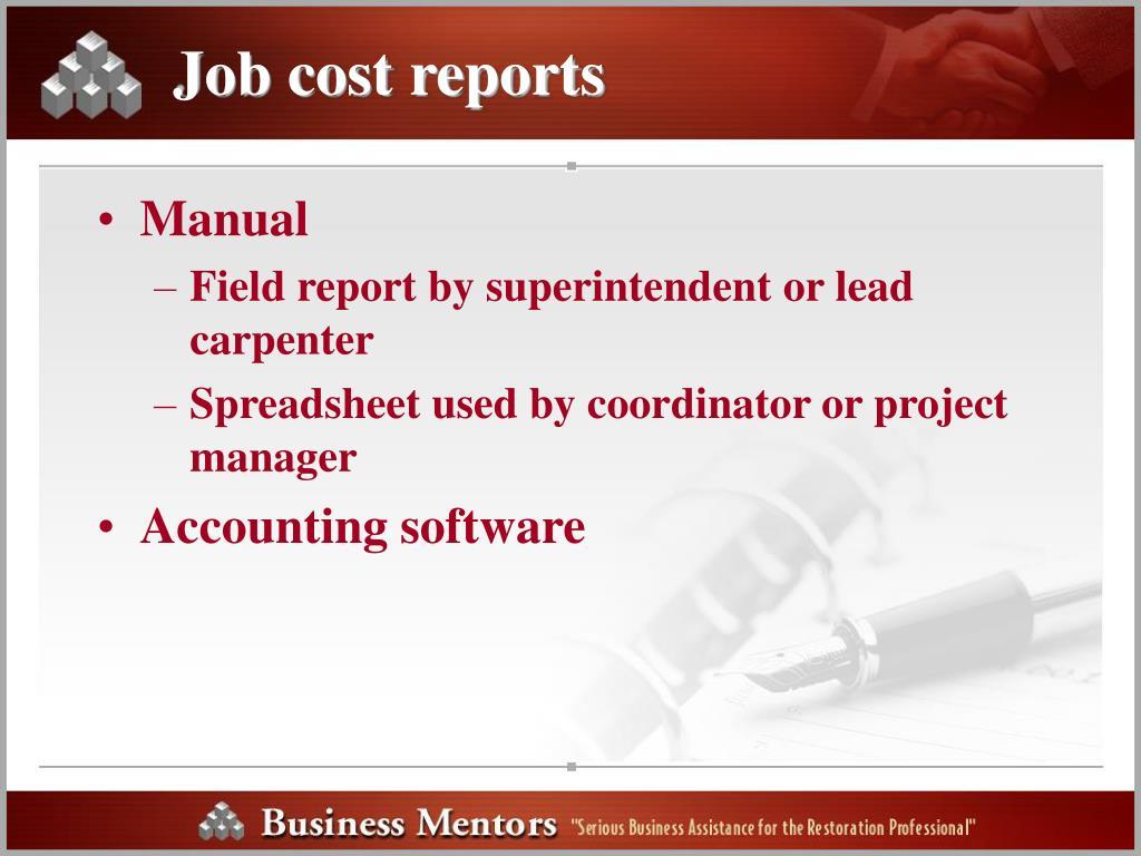 Job cost reports