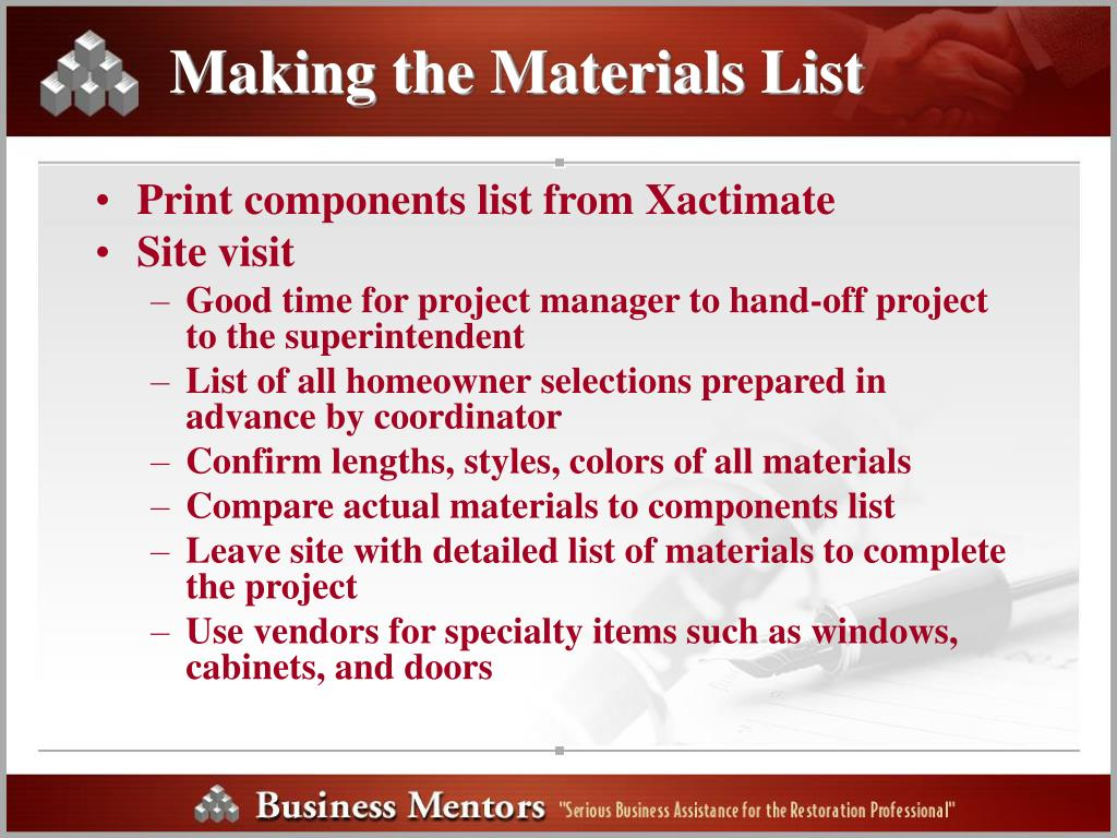 Making the Materials List