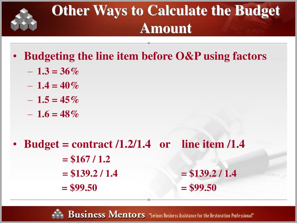 Other Ways to Calculate the Budget Amount