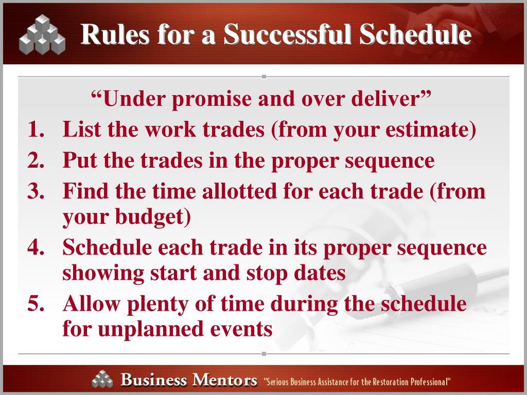 Rules for a Successful Schedule