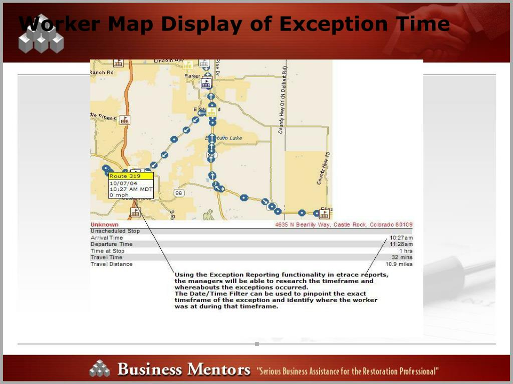 Worker Map Display of Exception Time