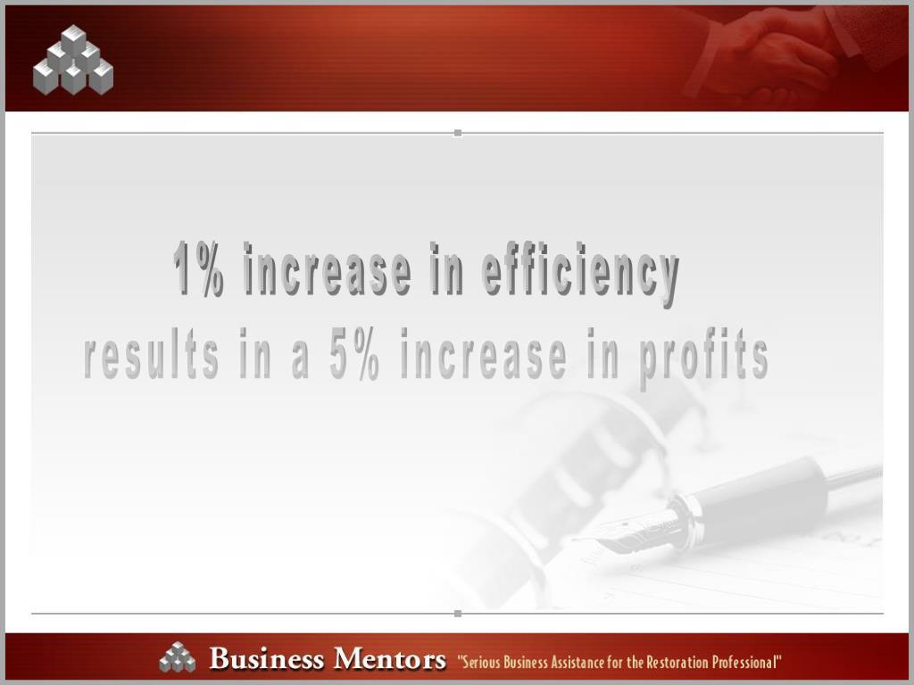 1% increase in efficiency