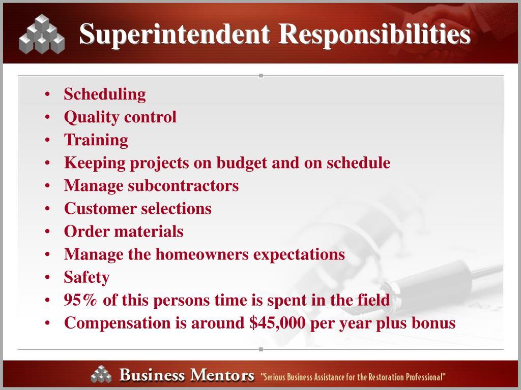 Superintendent Responsibilities