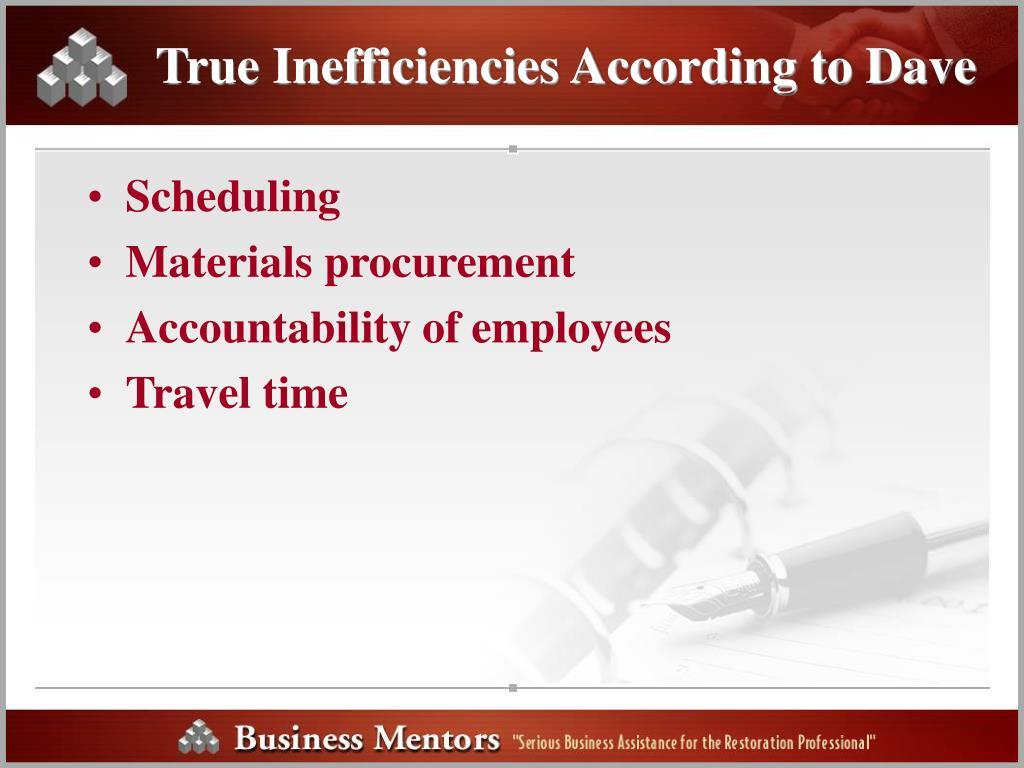 True Inefficiencies According to Dave