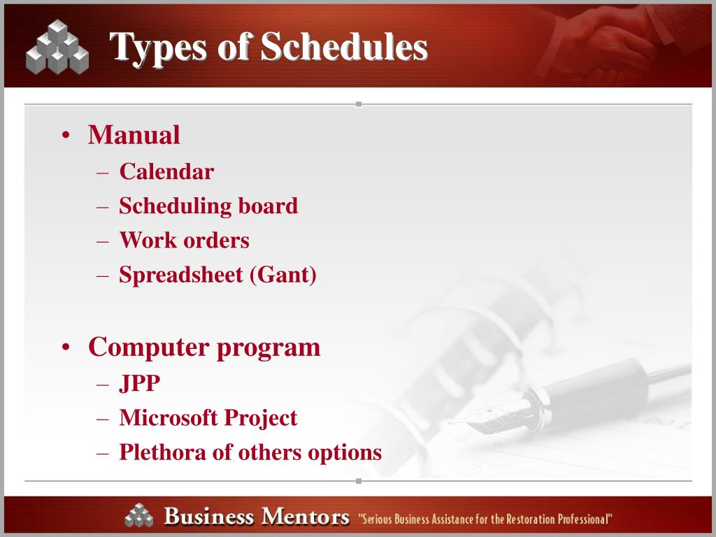 Types of Schedules