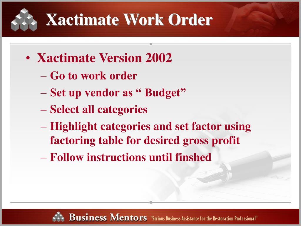 Xactimate Work Order