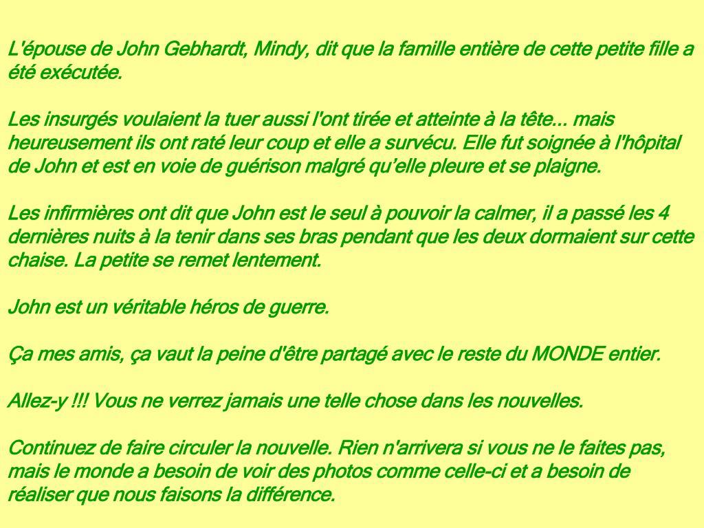 L'épouse de John Gebhardt, Mindy, dit que la famille entière de cette petite fille a été exécutée.