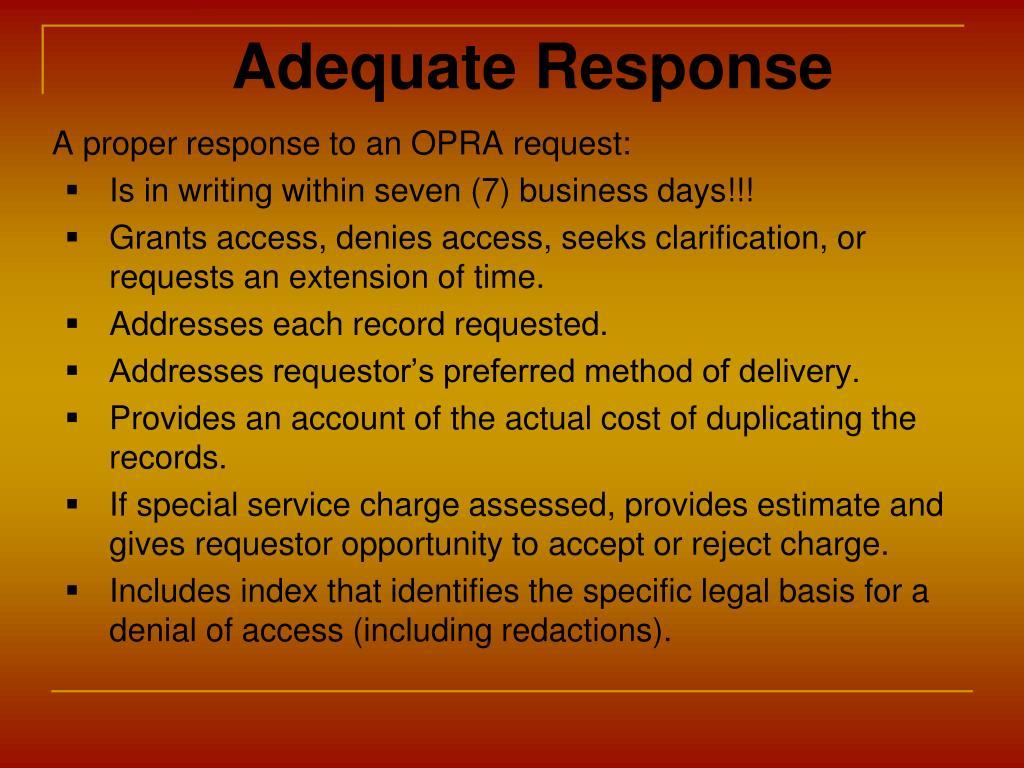 Adequate Response