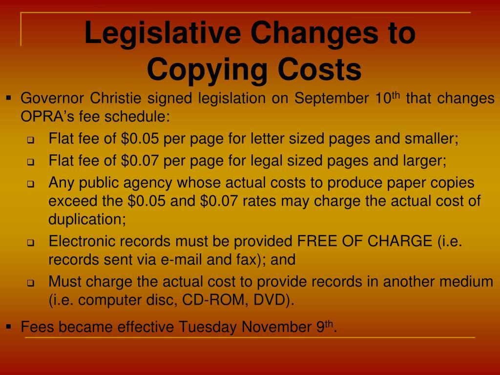 Legislative Changes to