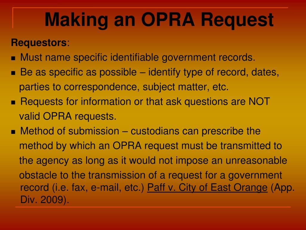 Making an OPRA Request
