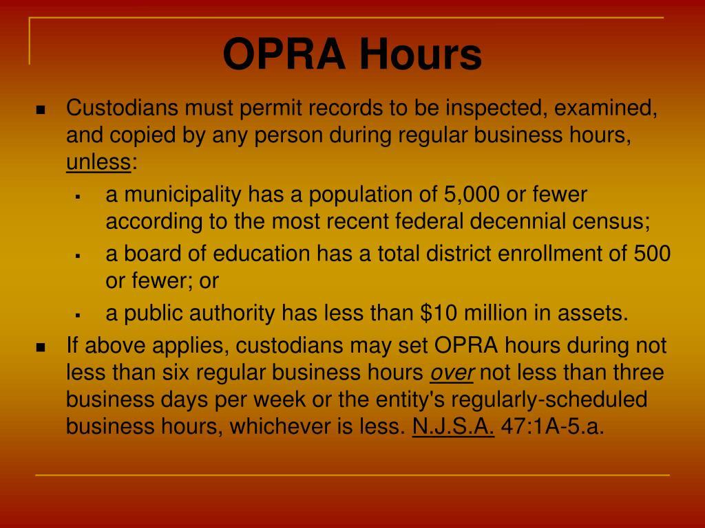 OPRA Hours