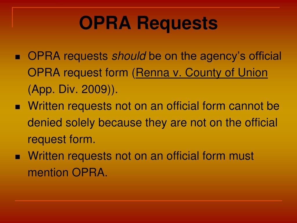 OPRA Requests