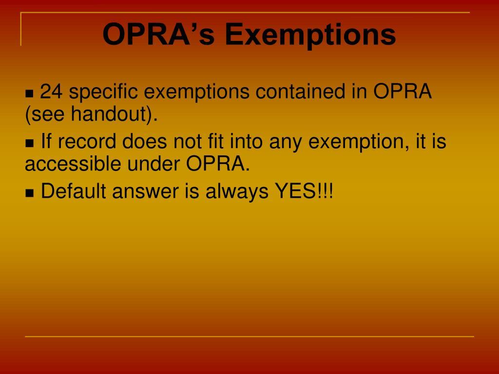 OPRA's Exemptions