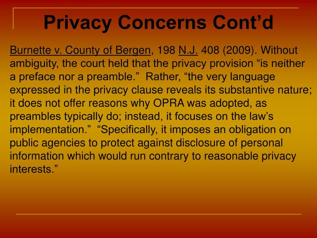 Privacy Concerns Cont'd