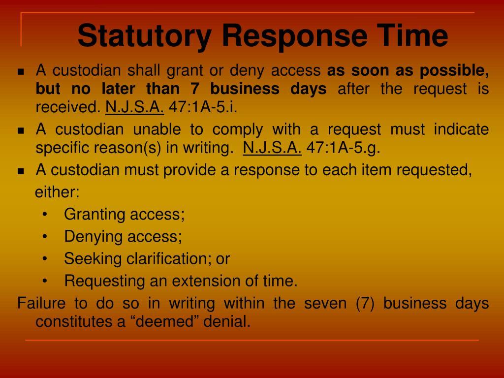 Statutory Response Time