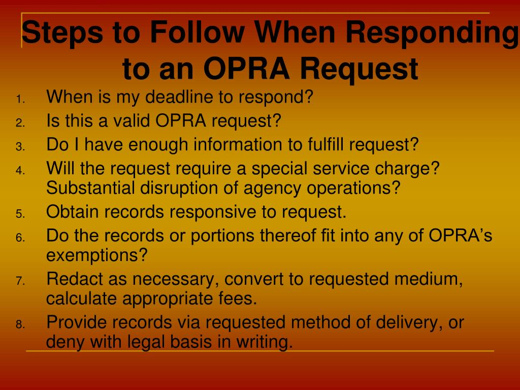 Steps to Follow When Responding to an OPRA Request