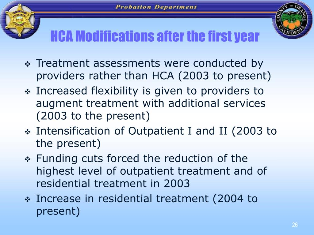 HCA Modifications after the first year