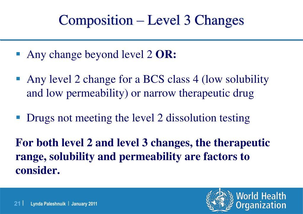 Composition – Level 3 Changes