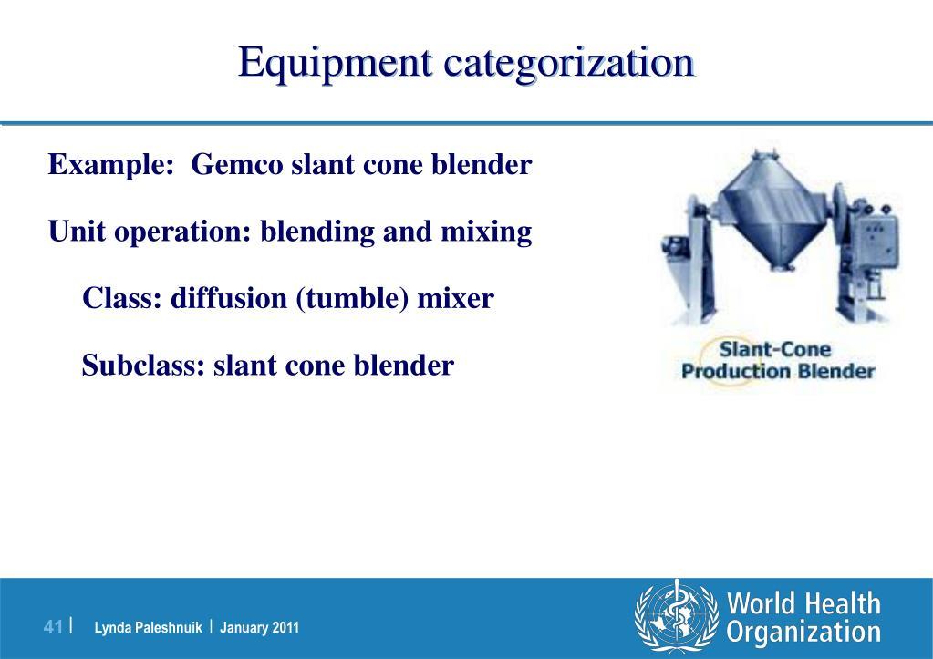 Equipment categorization