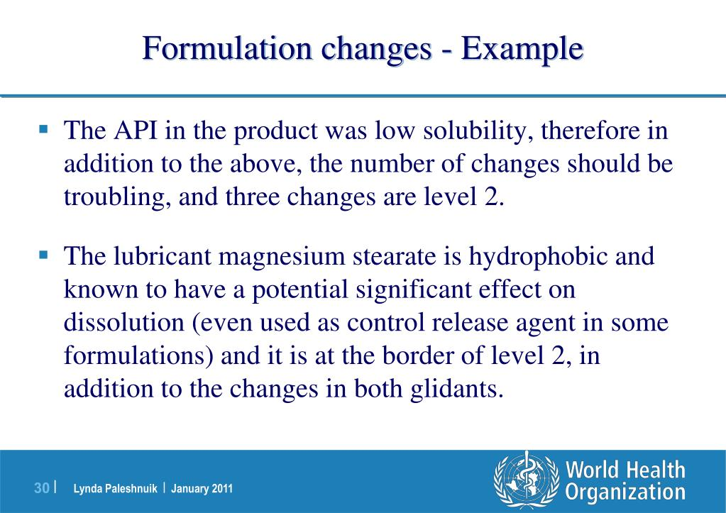 Formulation changes - Example