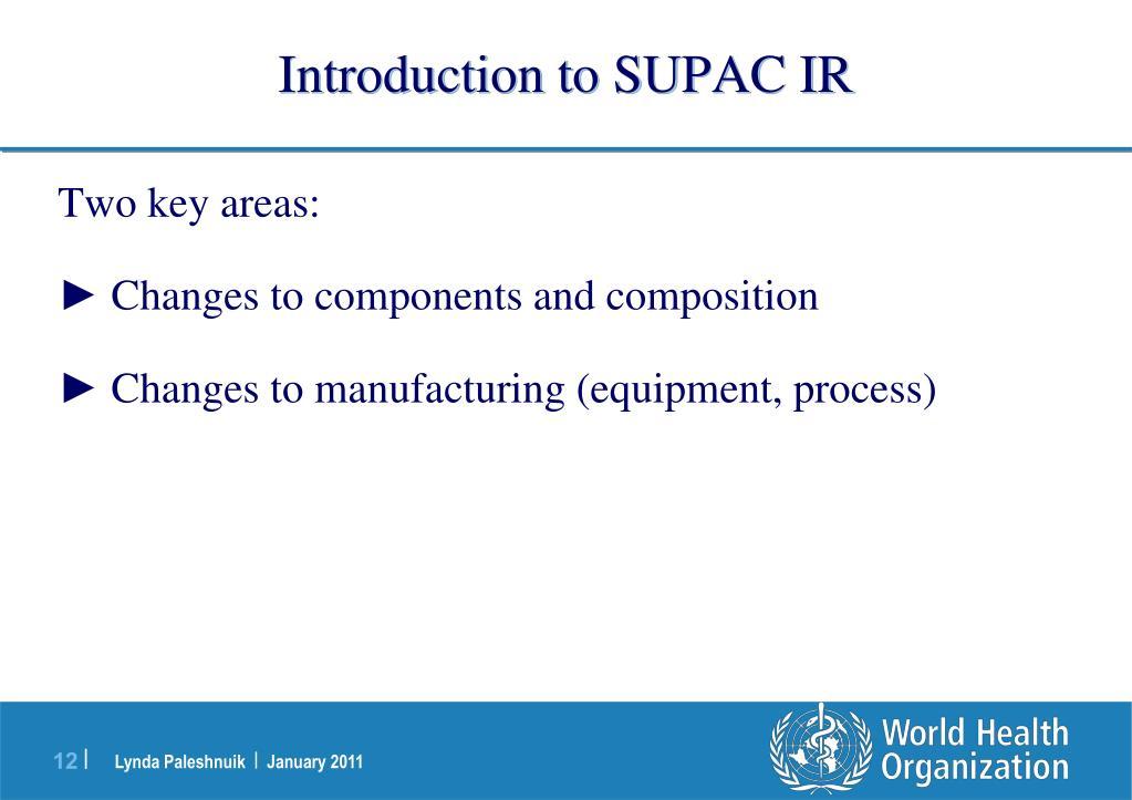 Introduction to SUPAC IR