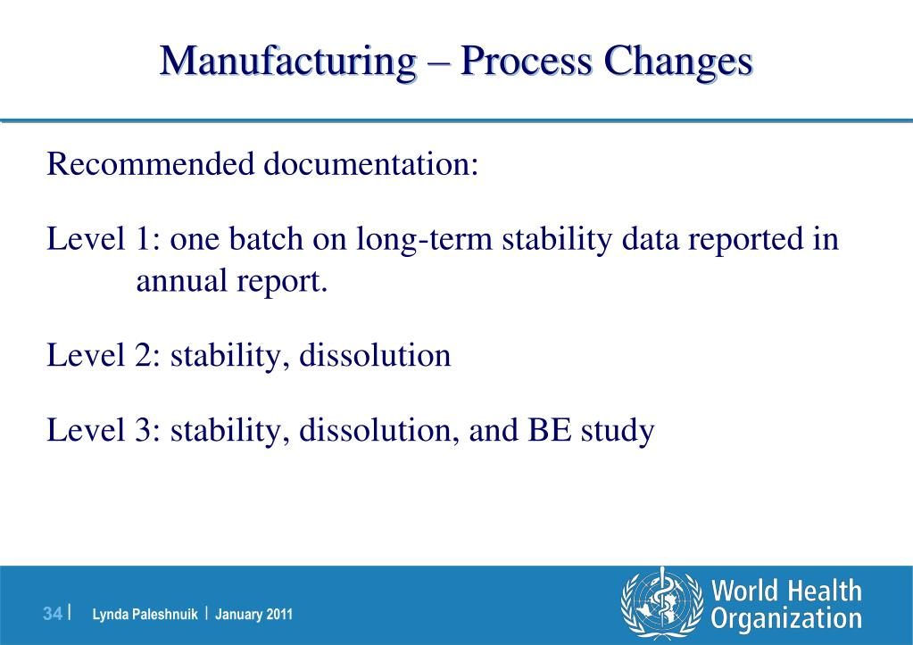 Manufacturing – Process Changes