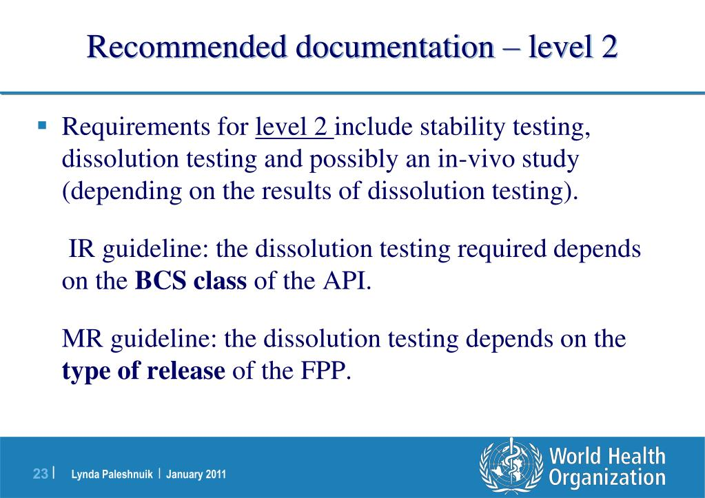 Recommended documentation – level 2