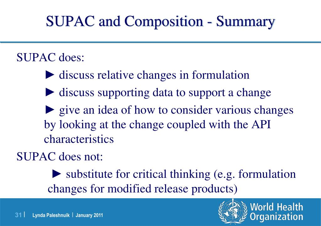 SUPAC and Composition - Summary