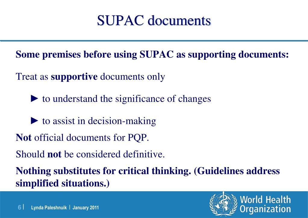 SUPAC documents