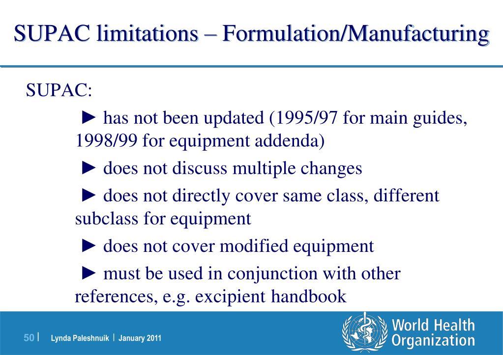SUPAC limitations – Formulation/Manufacturing